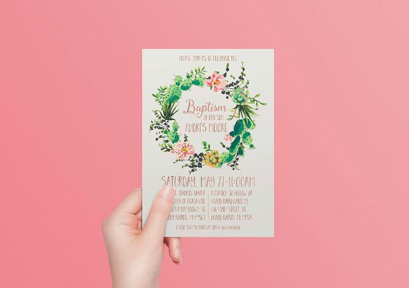 wreath baptism invitation