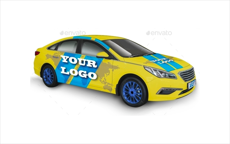 yellow and blue car mockup