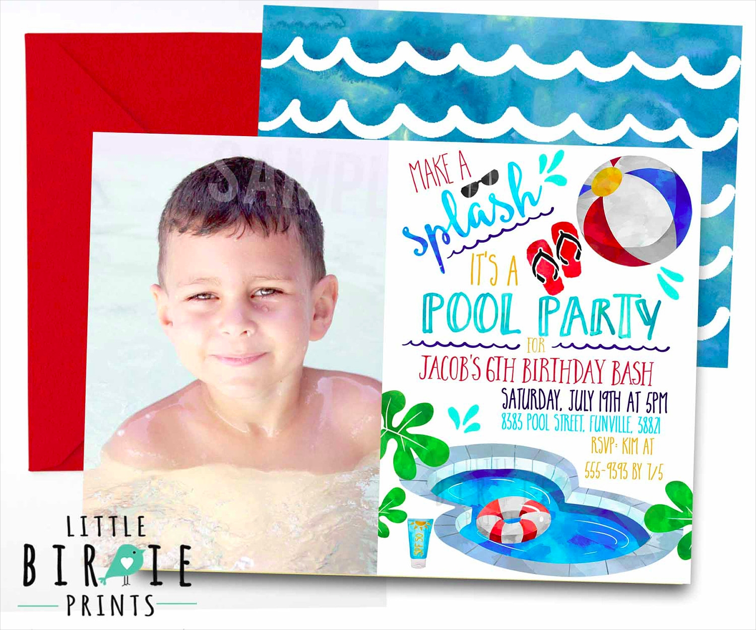 boy pool party invitation