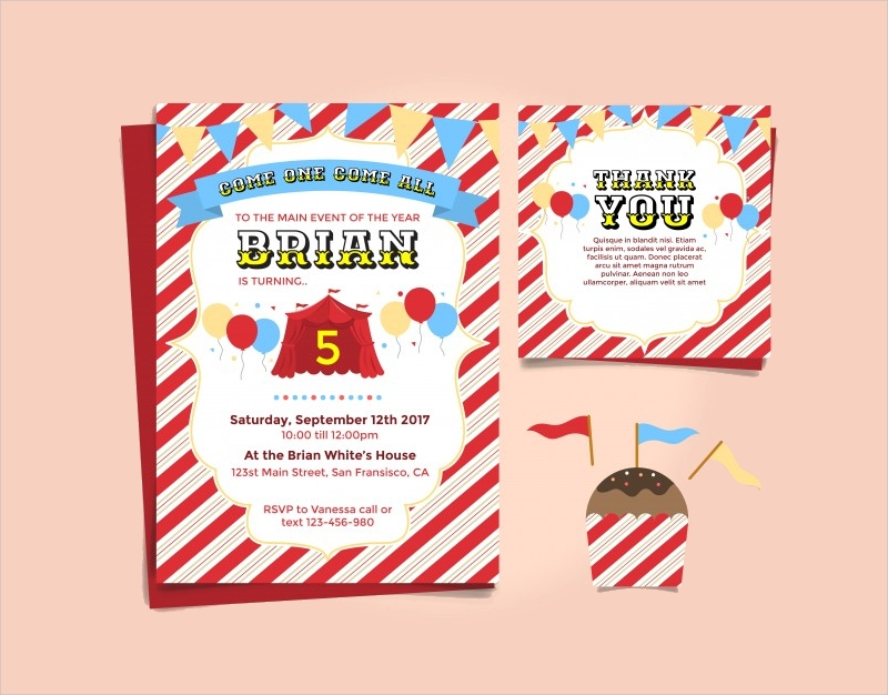 carnival theme birthday invitation