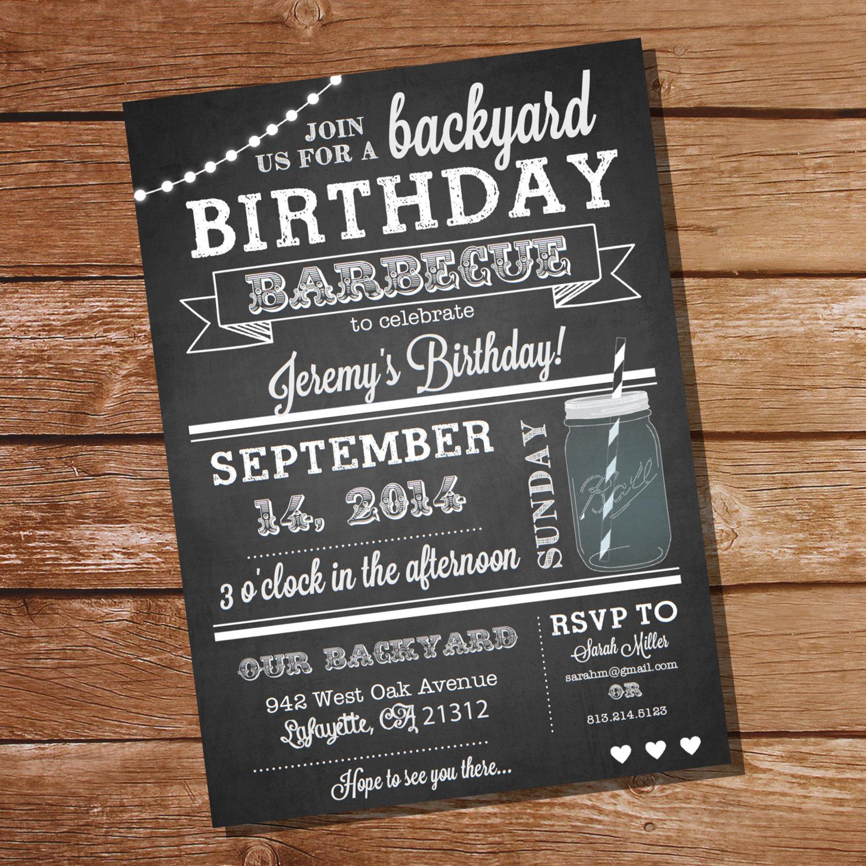 chalkboard bbq birthday invitation