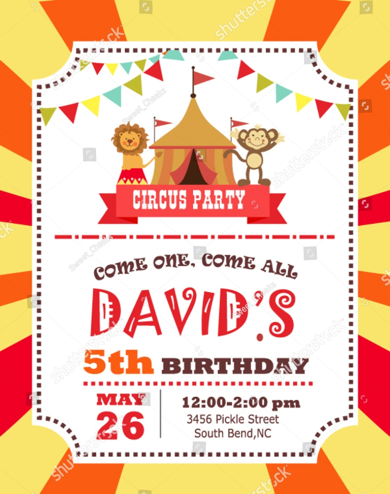 circus 5th birthday invitation