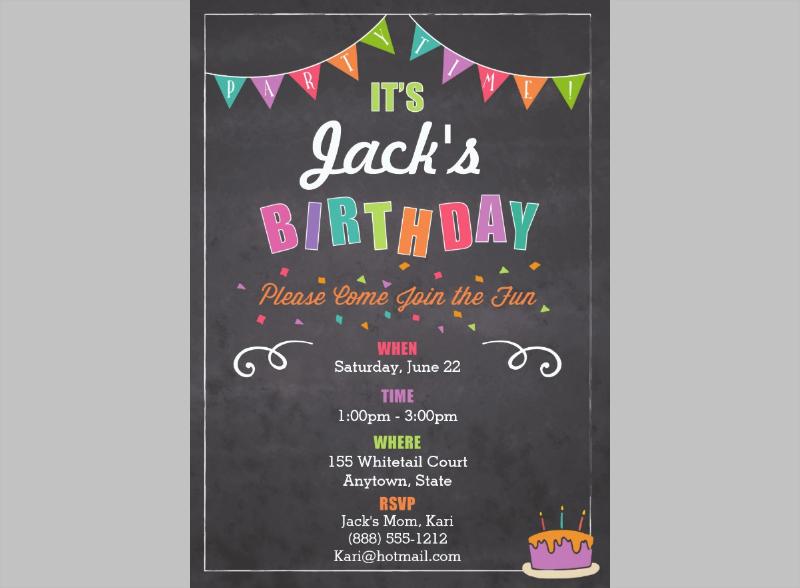 colourfull birthday invitation