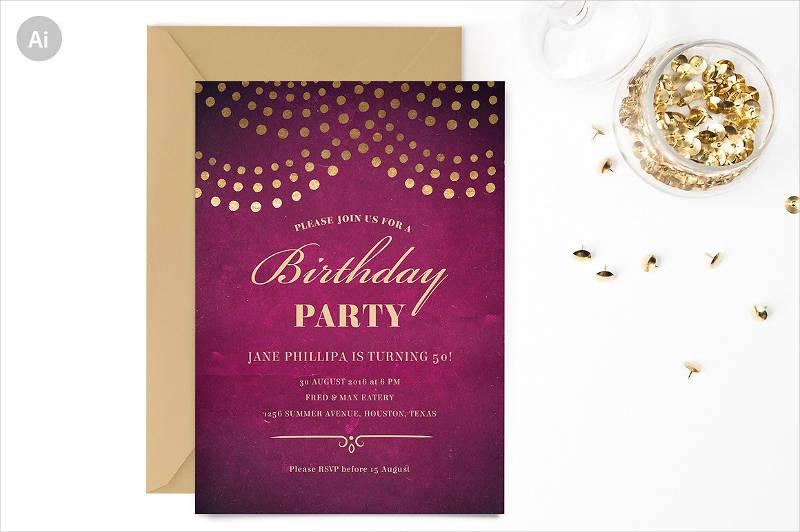 elegant 50th birthday party invitation1