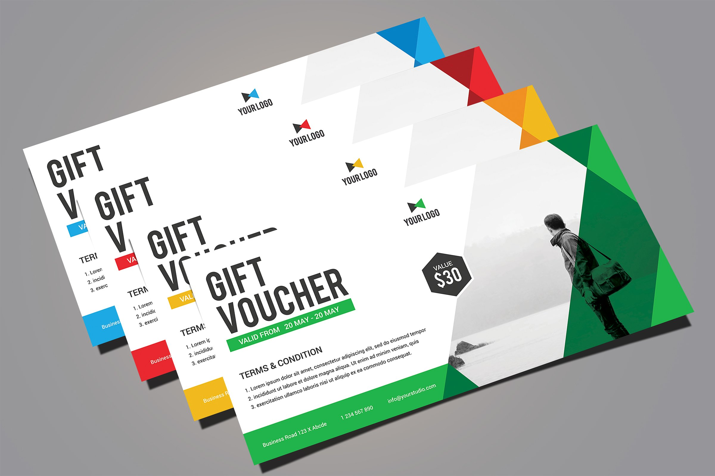 free fashion gift voucher design template mock up psd