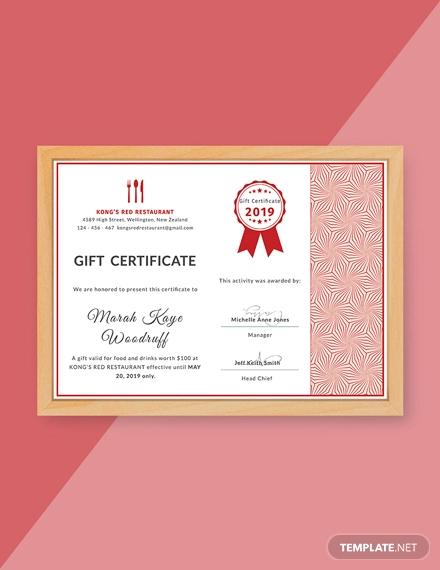 gift certificate for restaurant