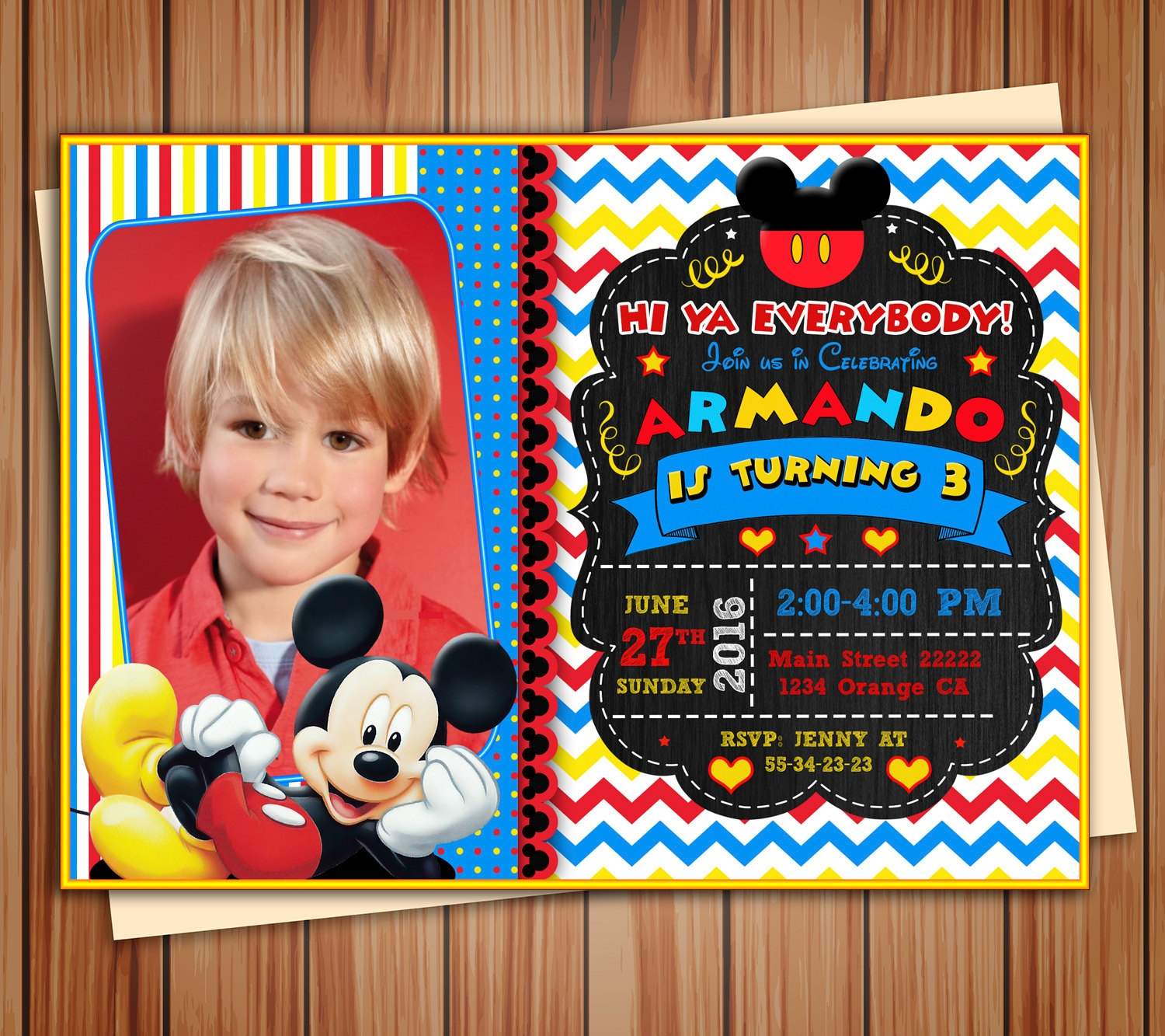 mickey mouse photo invitation