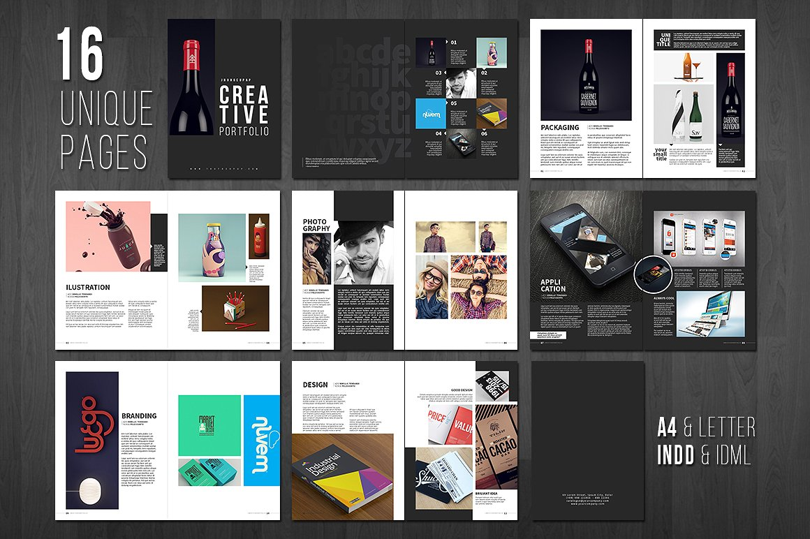 9 portfolio layout examples editable psd ai indesign format