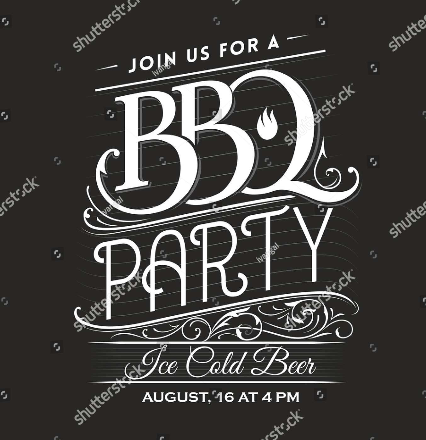 vintage bbq party invitation