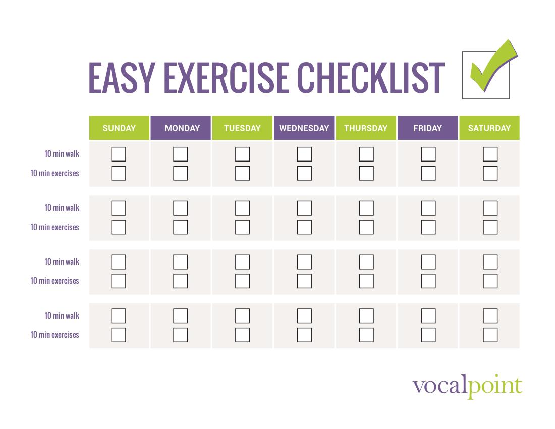 1 vp easy exercise checklist