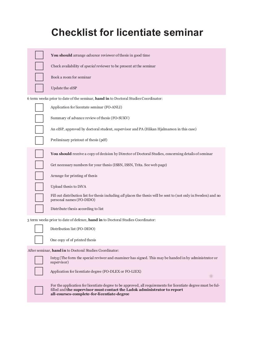 10 Checklist for licentiate seminar 2017