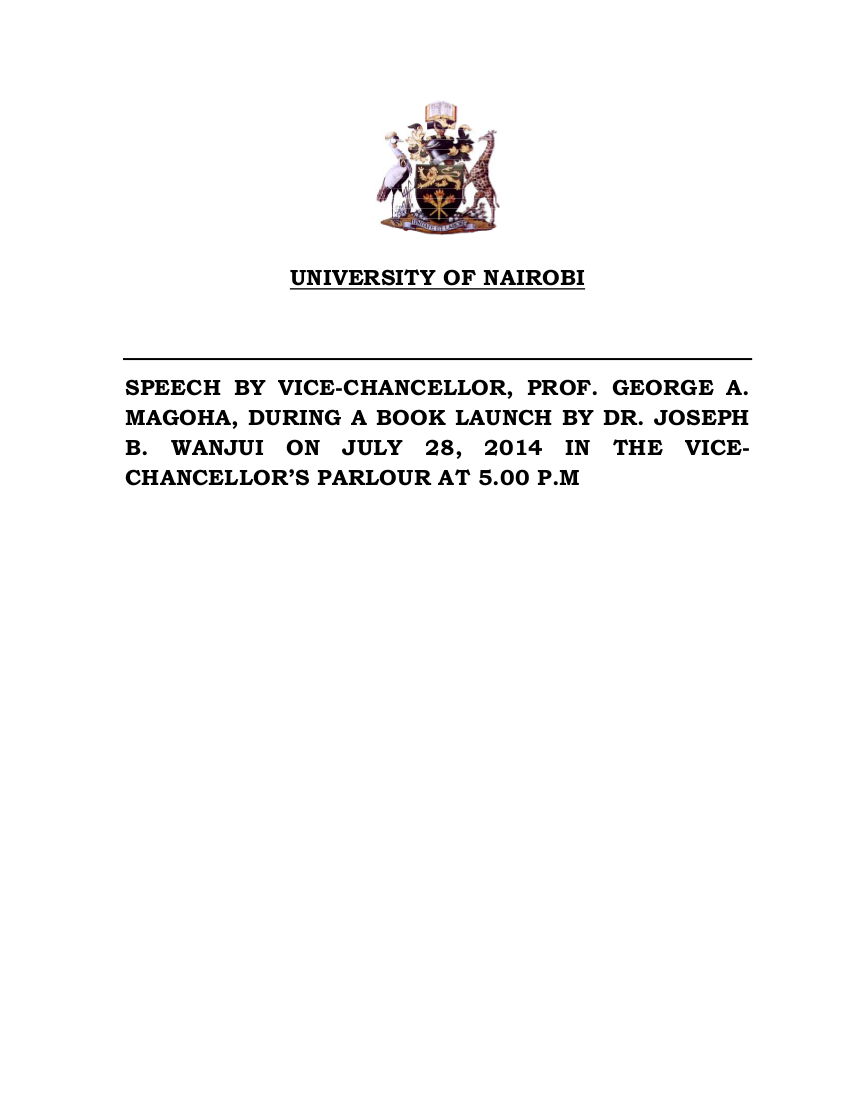 11 speech by vc for dr wanjui book launch july 28 2014