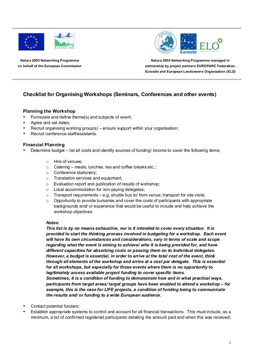 FREE 10+ Seminar Checklist Examples in PDF | Google Docs ...