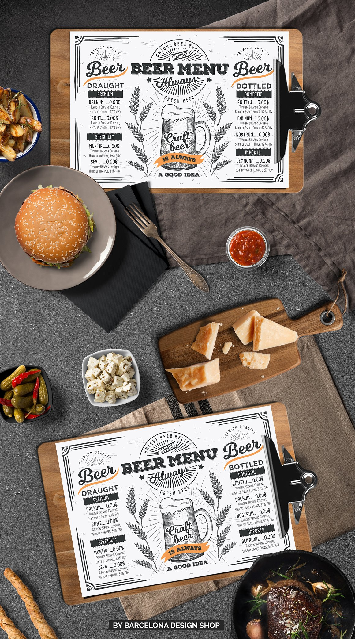 4 beer drink menu bar restaurant template