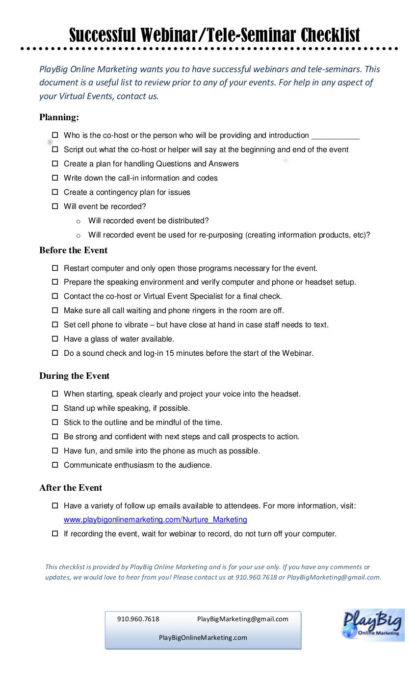 8 virtual event checklist