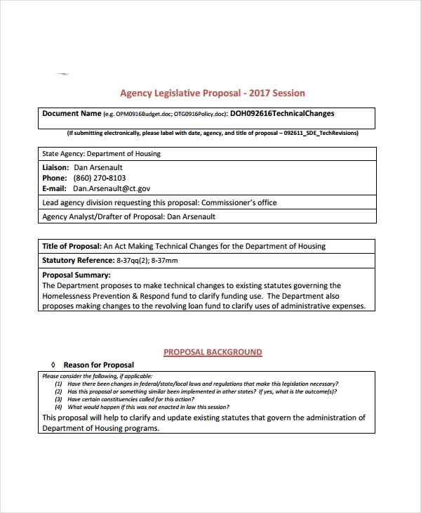 agency legislative proposal