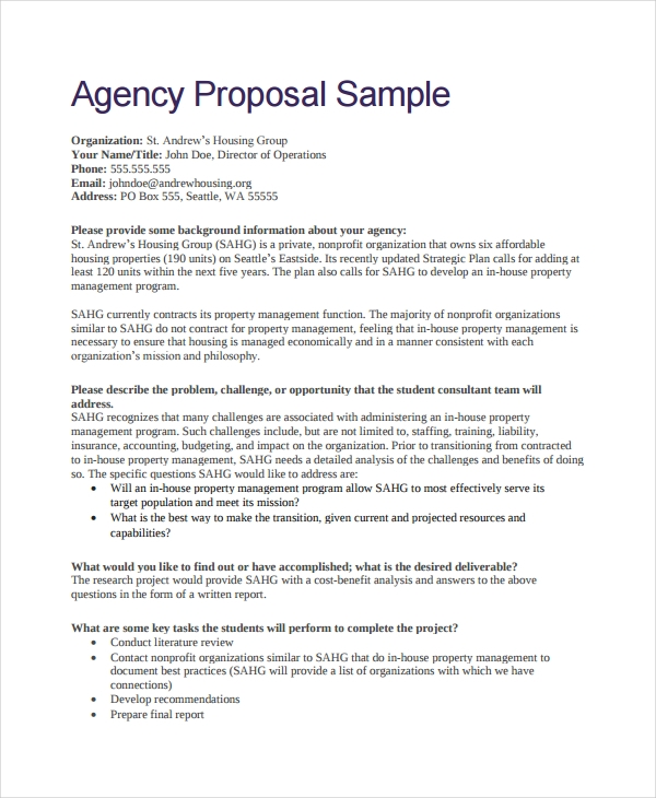 agency proposal sample