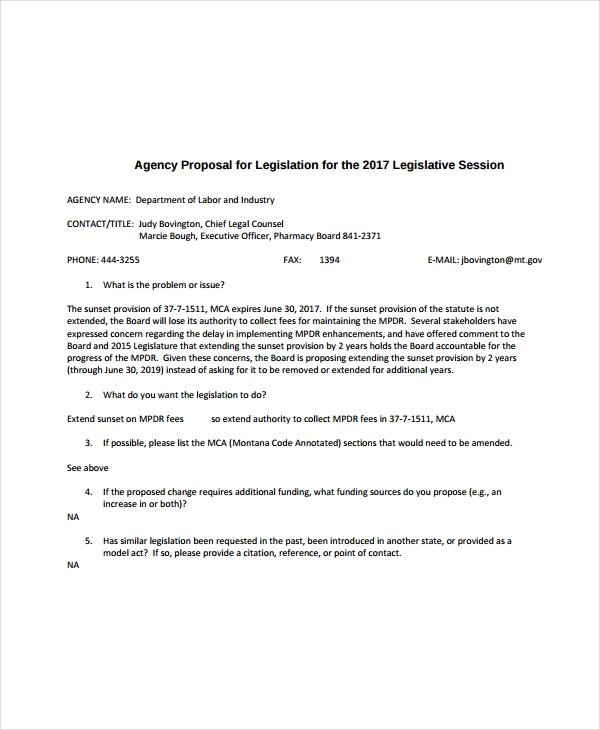 agency proposal for legislation