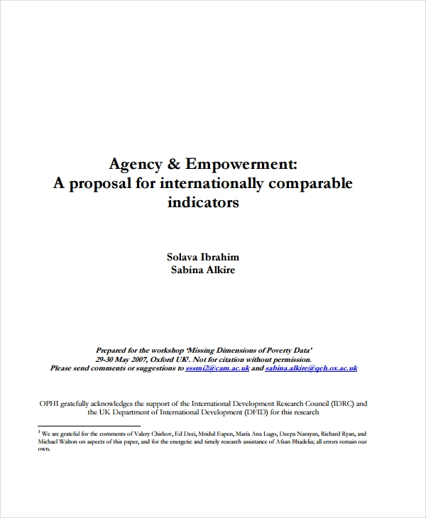 agency and empowerment proposal
