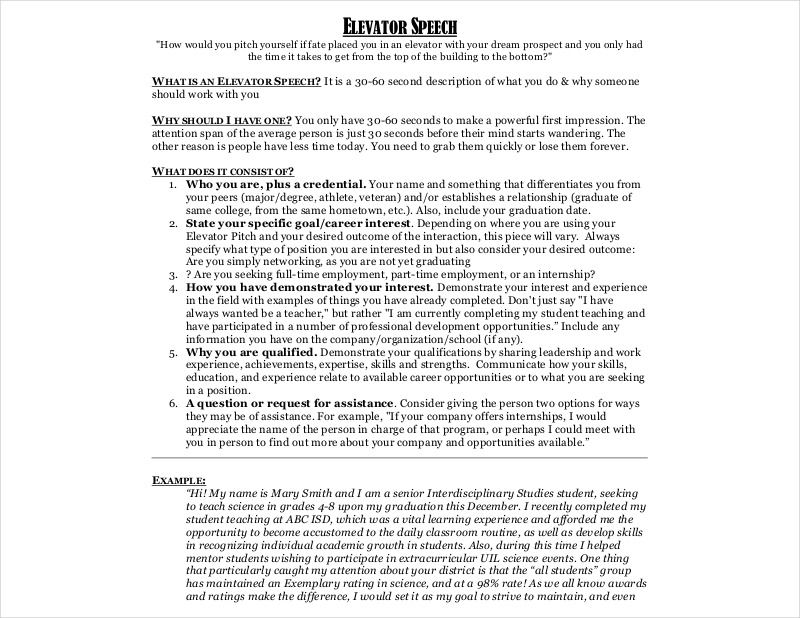 application elevator speech - I Have A Dream Essay Examples
