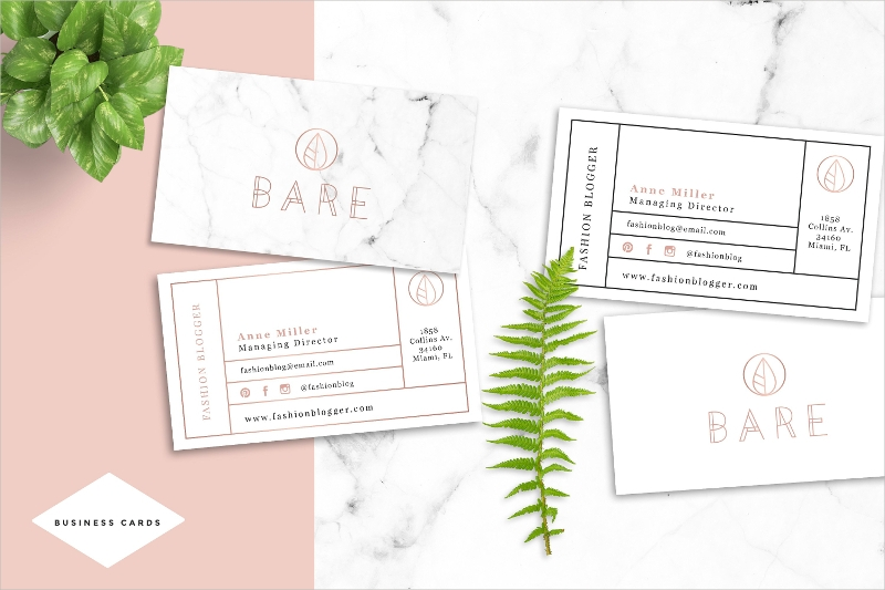 bare fashion business card