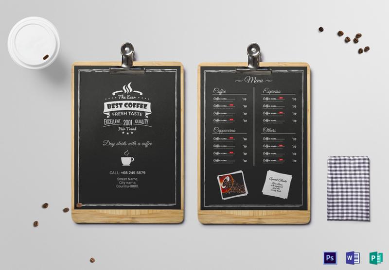 black chalkboard coffee menu