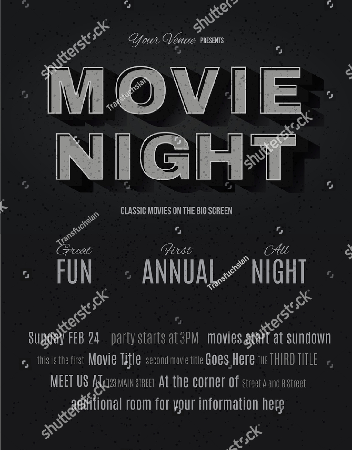 black minimalist movie night flyer