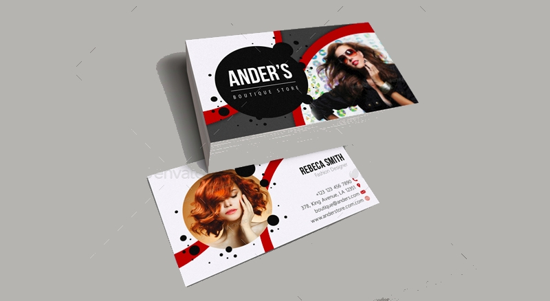 black and red fashion business card