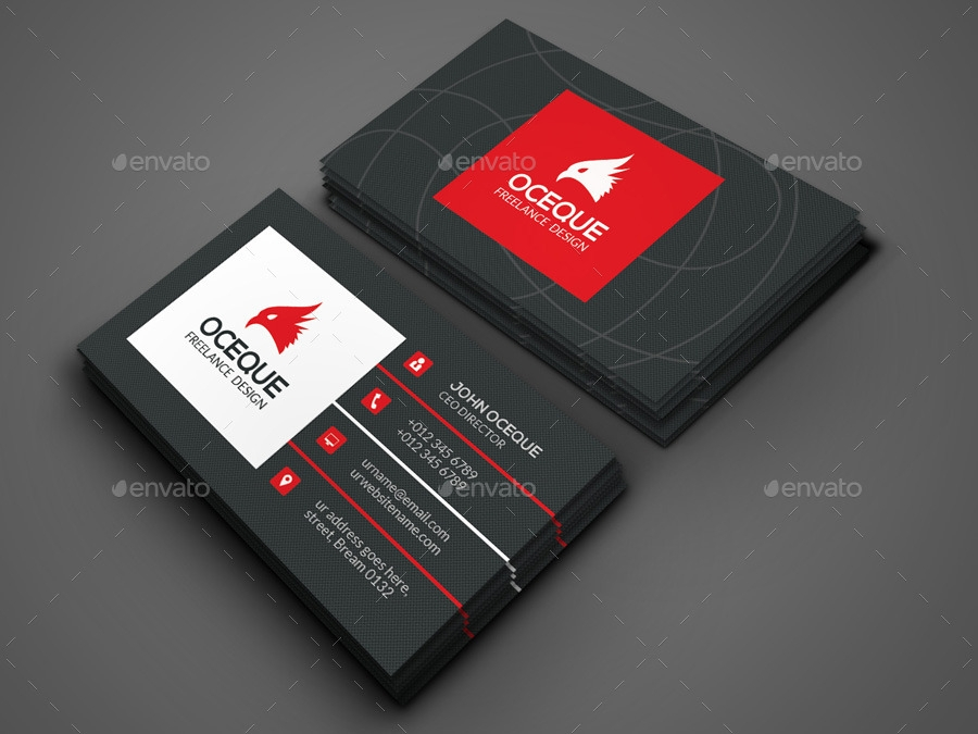 black and red marketing business card