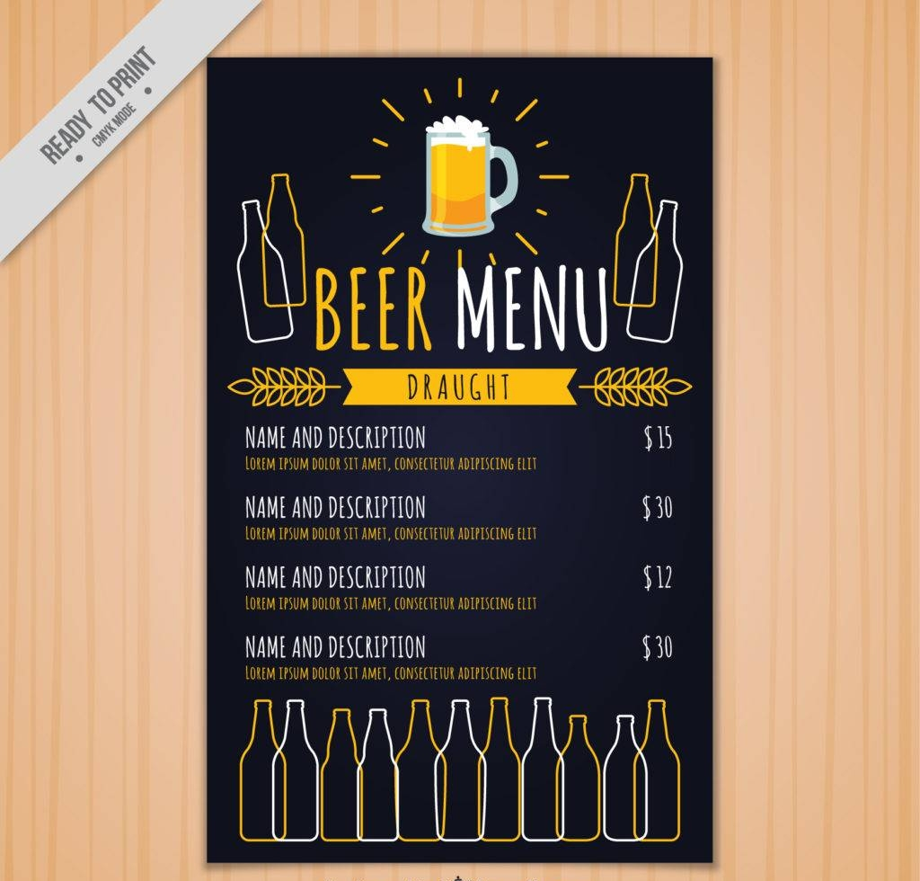 blue beer menu design