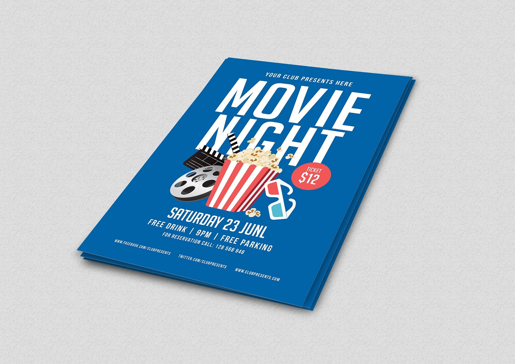 blue movie night flyer