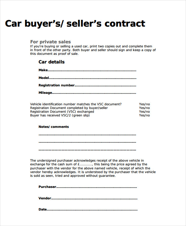 car sellers contract template