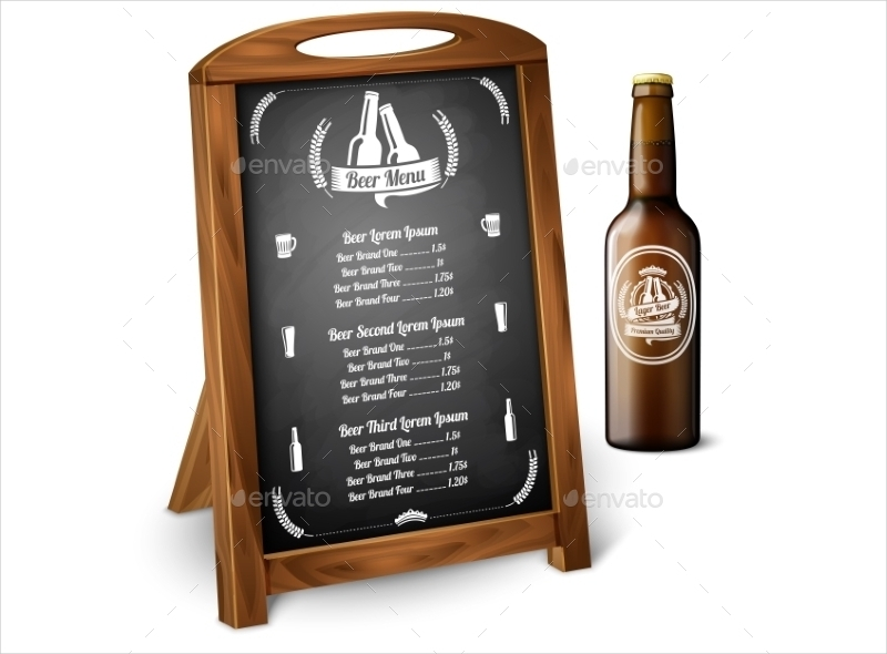 chalkboard wooden beer menu