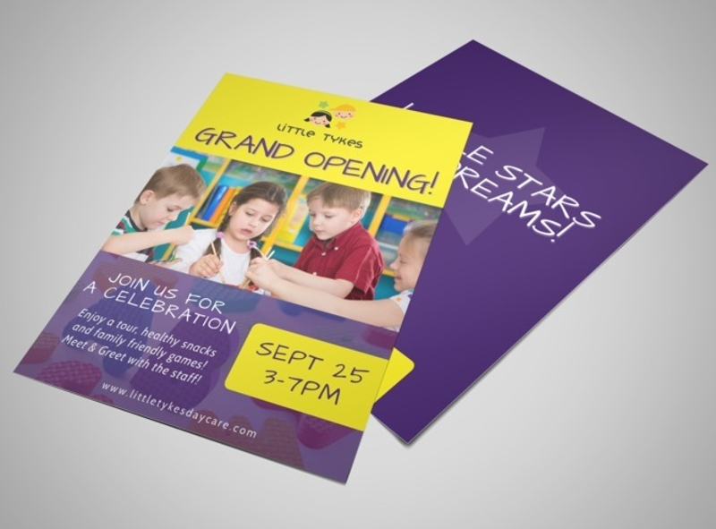 child care grand opening flyer