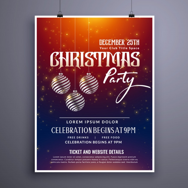 christmas party invitation template flyer