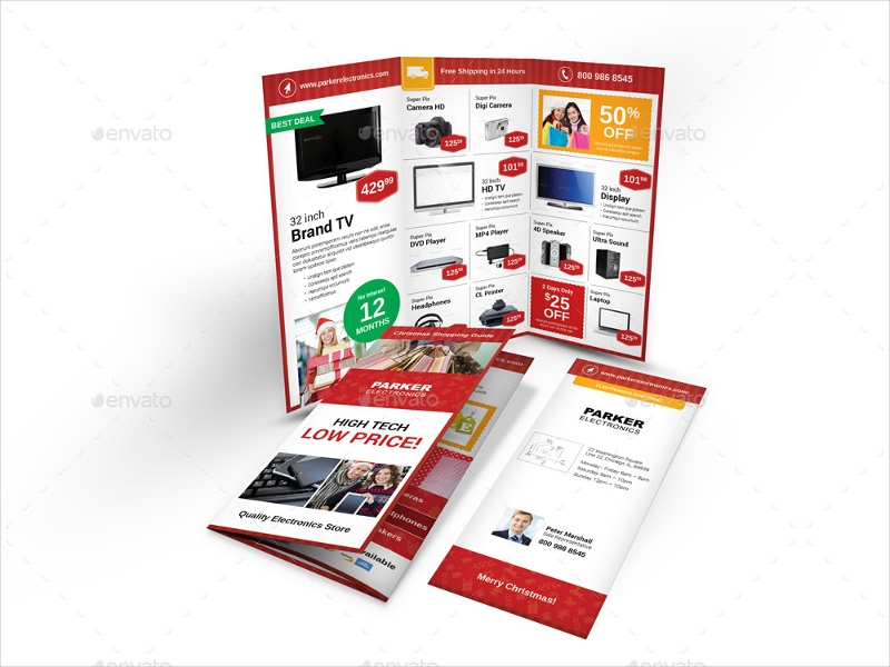 christmas shop trifold brochure