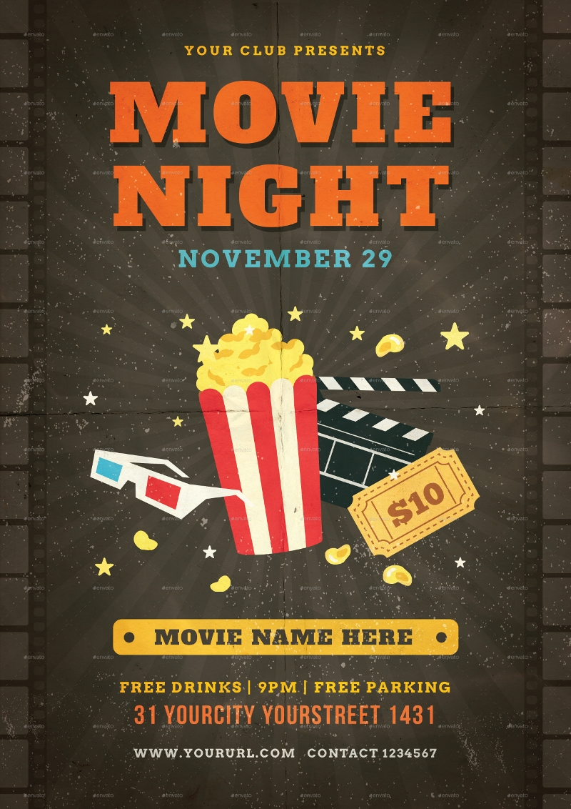 club movie night flyer