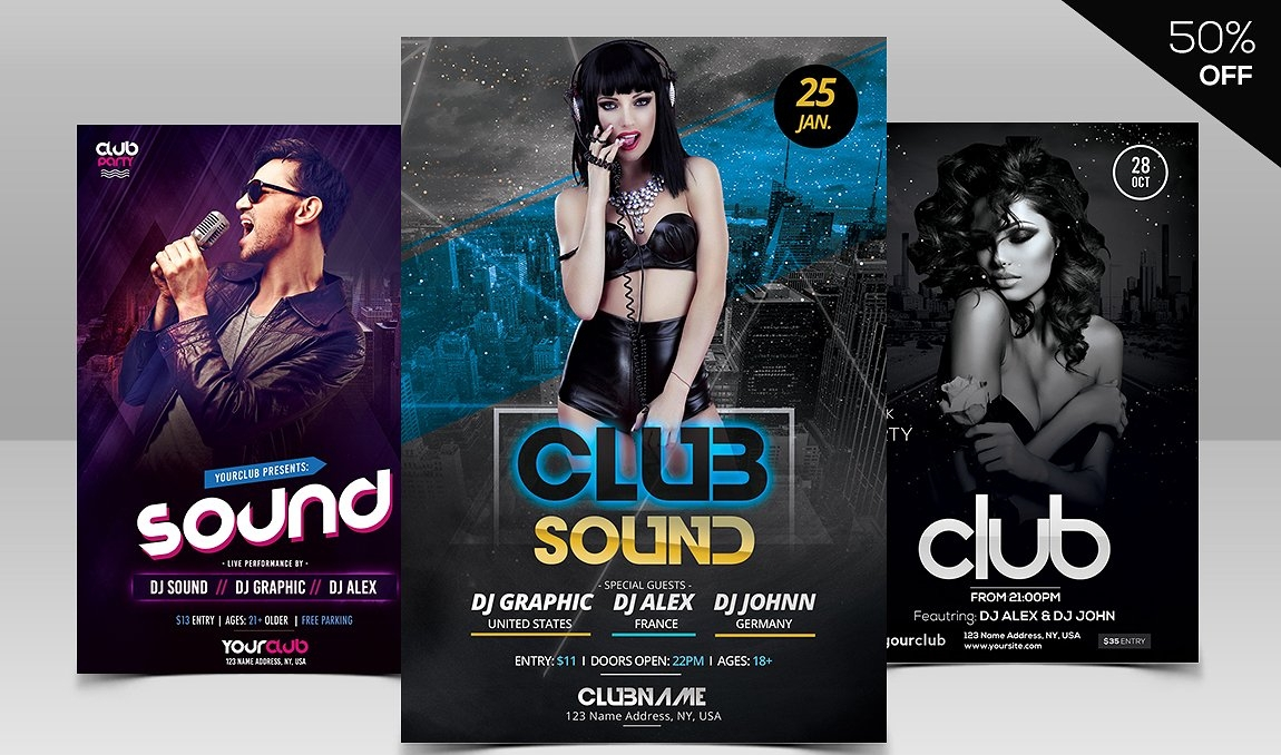 club psd flyer design