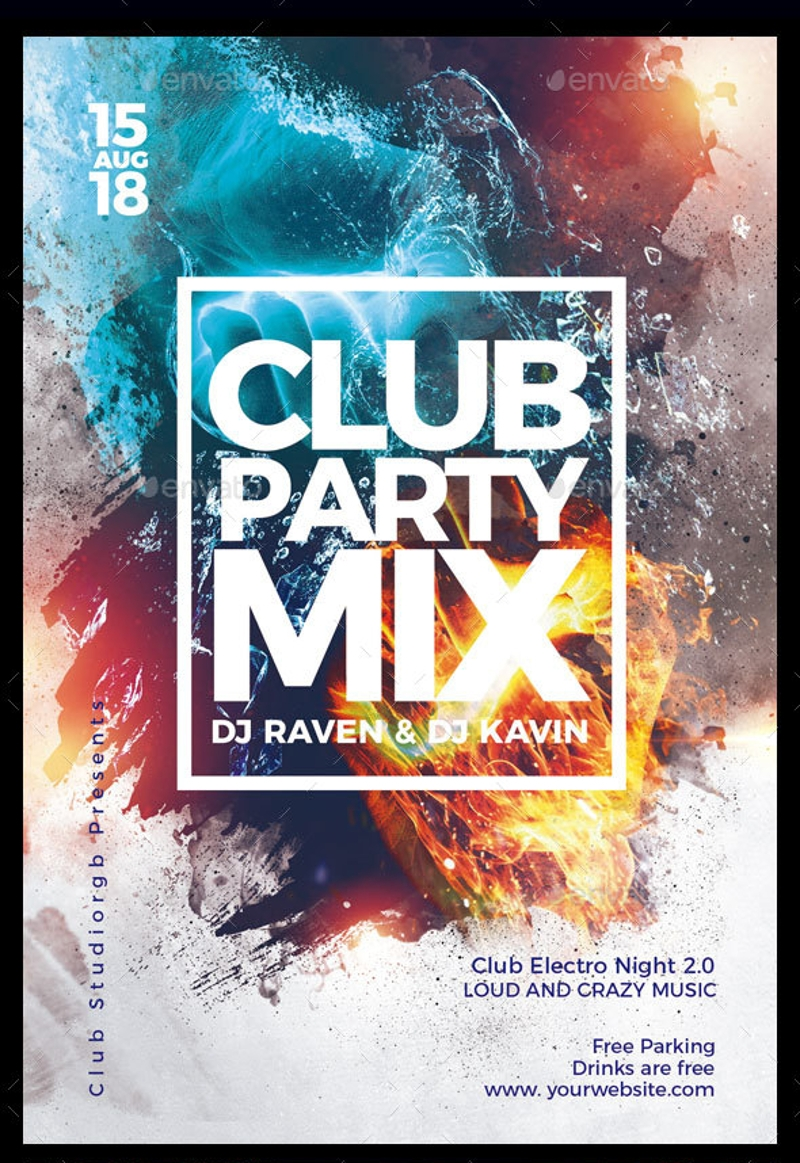 colorful club party flyer