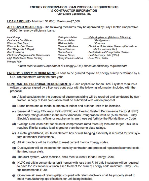 contractor loan proposal