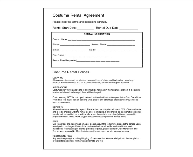 costume rental contract