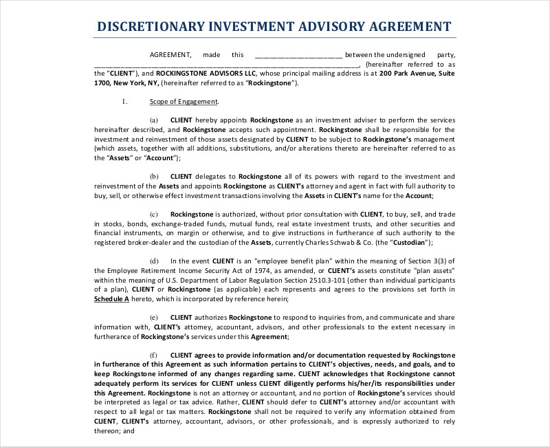 discretionary investment advisory contract
