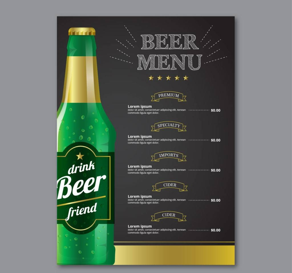 elegant beer menu template