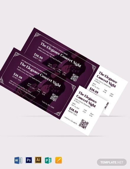 elegant concert ticket template