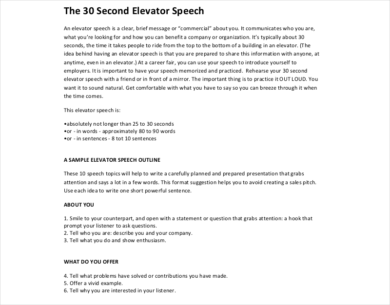 Elevator Speech Examples  Samples In Pdf