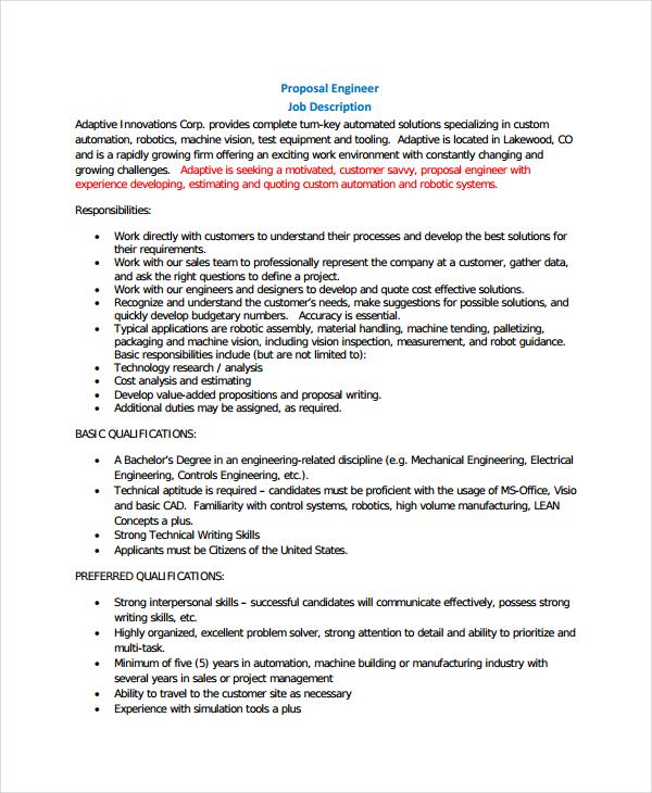writing a job proposal sample