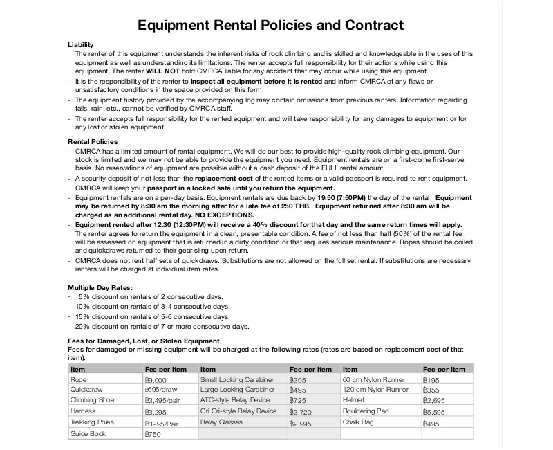 equipment rental contract