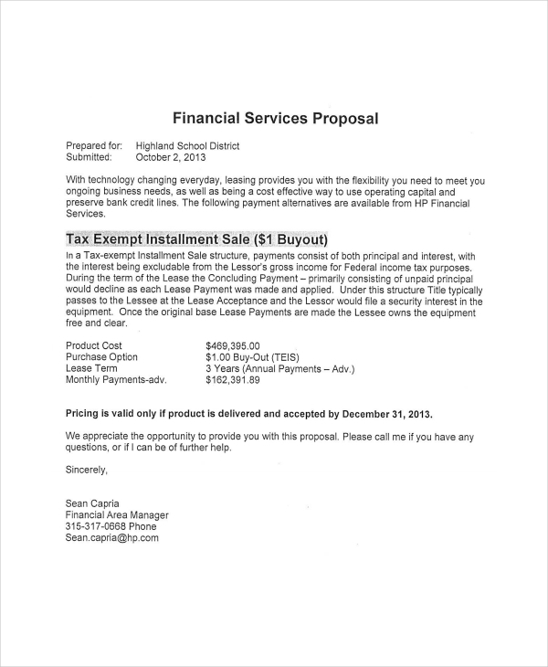 financial services proposal for school