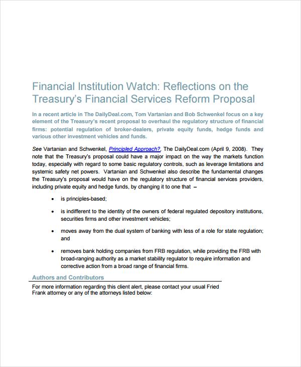 financial services reform proposal