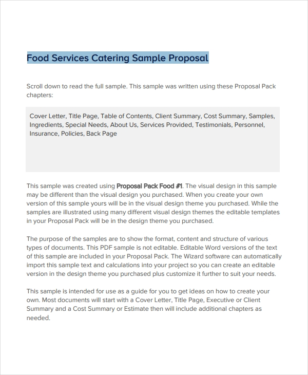 food services catering sample proposal